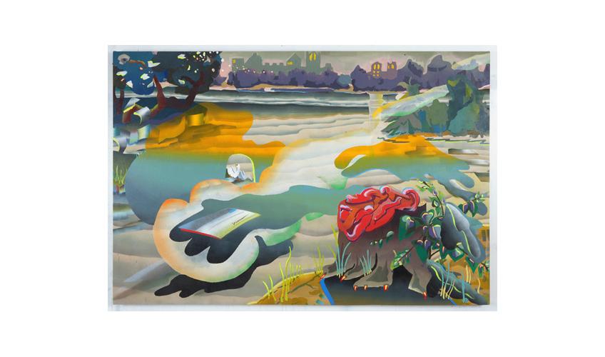 """Fog, 2012     Oil, dye and spray paint on canvas 48"""" x 70"""""""