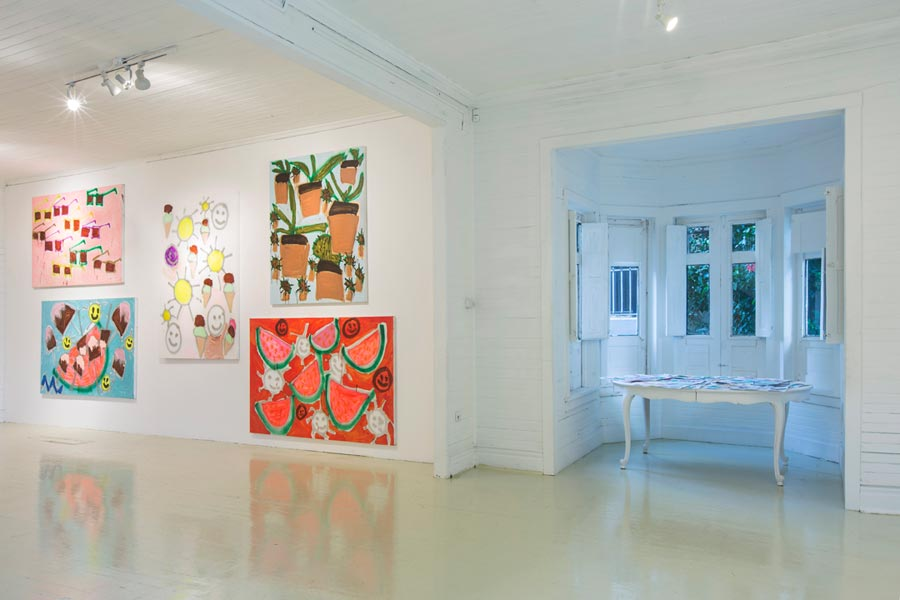 Installation view at Roberto Paradise | Watermelon, Smiley Faces, Ice Cream, Popsicles, Avocado, and Sun | Katherine Bernhardt