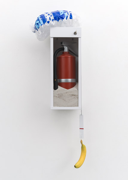 Guardian (Sand and Ice), 2014 | Wood, cast bronze, glass, steel, fire extinguisher cabinet, steel cable, plastic bag, cut vinyl, paint, and sand, 30'' x 12'' x 7d