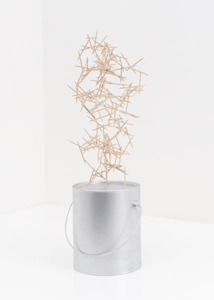 Untitled (Can with Toothpicks), 2014 | Wood, steel, and paint, 22.5'' x 10'' x 10d
