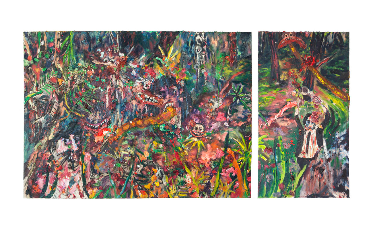 "Fucked by the paradise, 2013 | Oil and charcoal on canvas, 114"" x 58 1/4"""