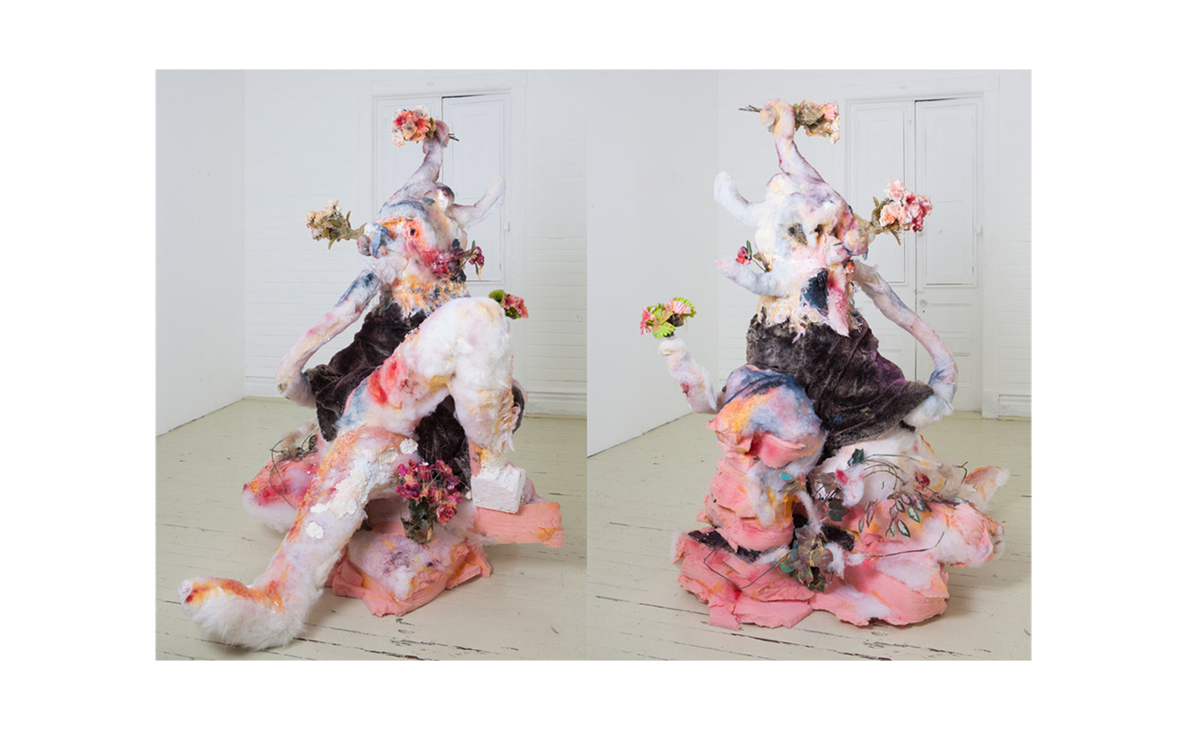 "The Garden, 2013 | Foam, papier mache, synthetic hair, fabric, fiberglass, fiberfill, artificial flowers, spray paint, oil, 65"" x 43"" 67"""