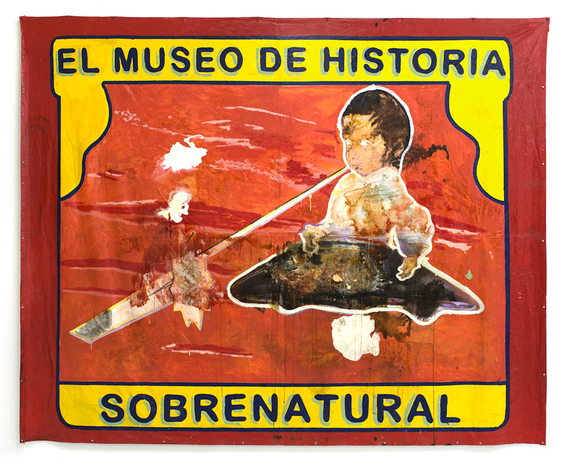"El Museo de Historia Sobrenatural, 2015 | Mixed media on tarp, 141"" x 114"""