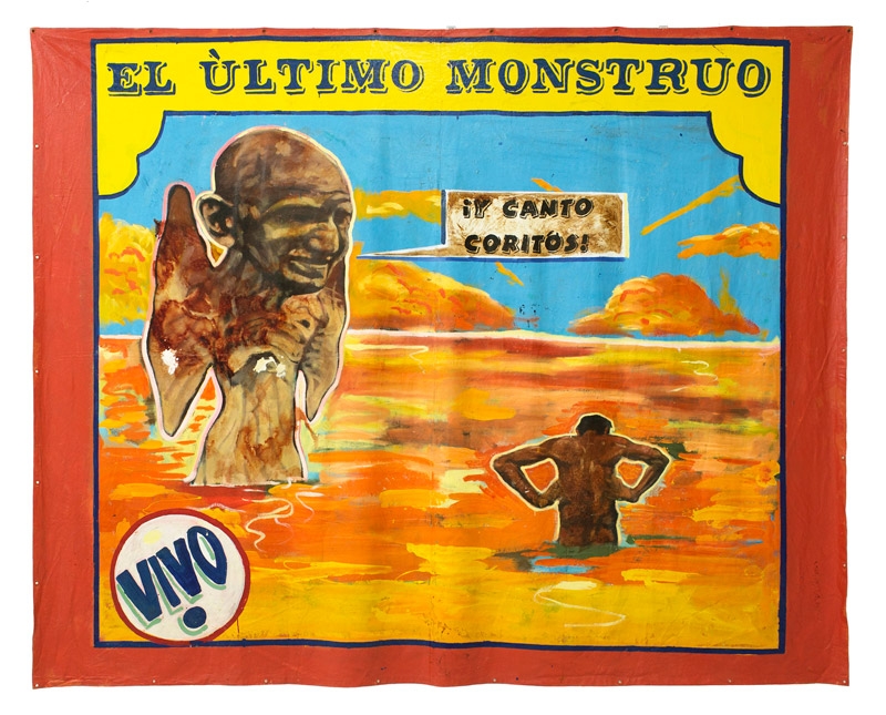 "El Ultimo Monstruo, 2015 | Mixed media on tarp, 141"" x 114"""