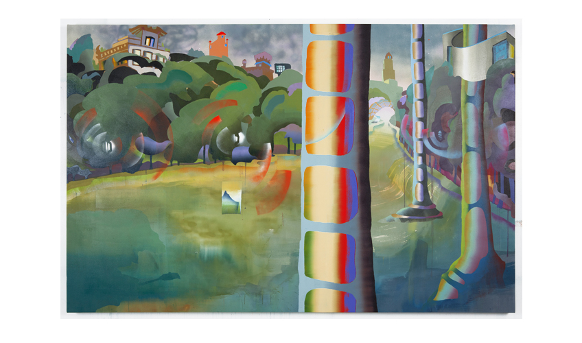 "Long Meadow, 2012  |  Oil, dye and spray paint on canvas 55"" x 86"""