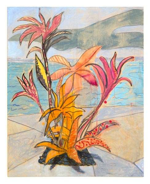 "Miami Flower (2013) Oil, pastel, dye on paper mounted on canvas, 48"" x 60"""