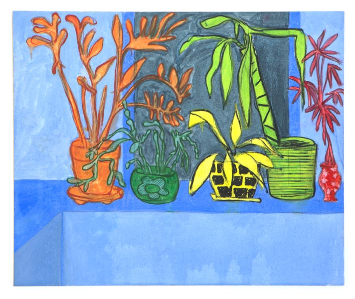 "Houseplants (blue), 2013 Oil on canvas, 31"" x 37"""