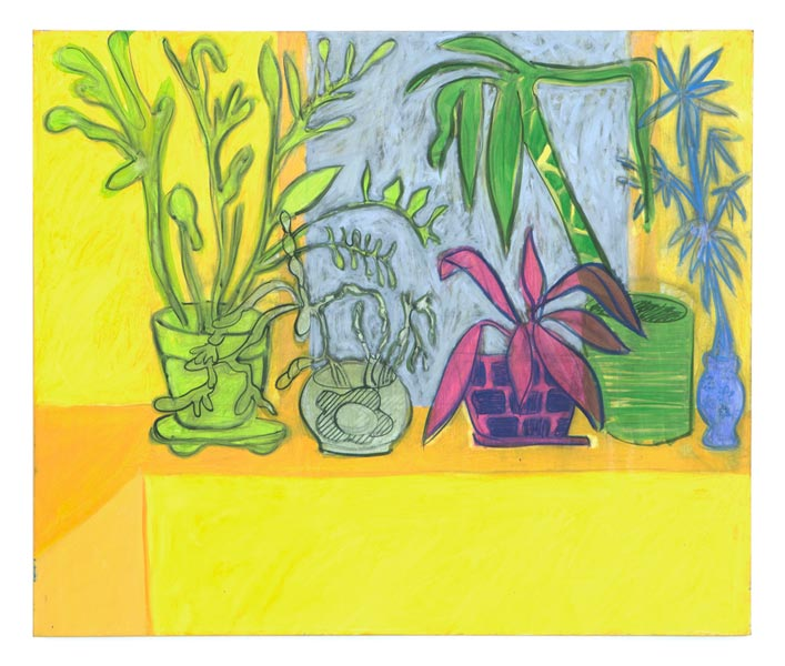 "Houseplants (yellow), 2013 Oil on canvas, 31"" x 37"""