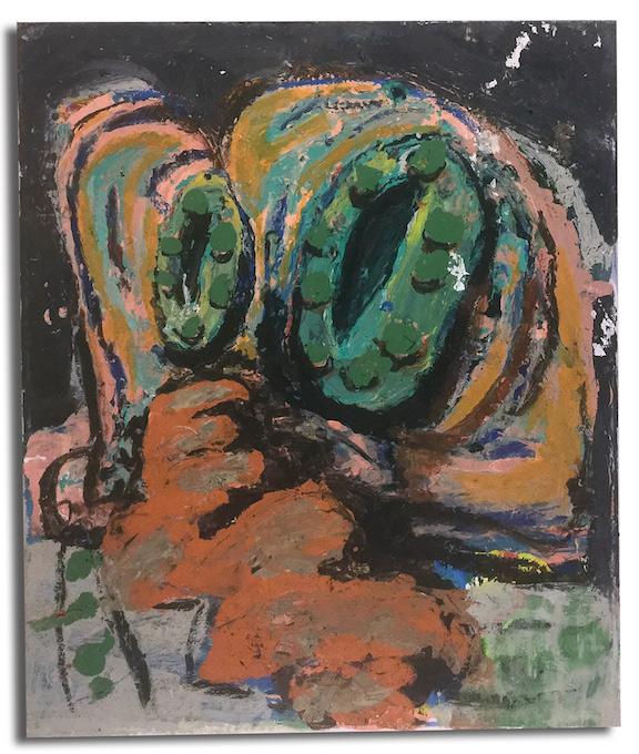 "Private SNAFU, 2017 | Acrylic and oil stick on canvas, 24"" x 20"""