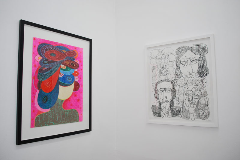 Installation view of Convoluted, with works by Richard Hull (L) and José Lerma (R), Maid's Room, San Juan, Puerto Rico