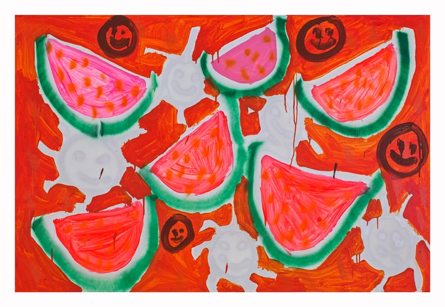 Five Watermelons, Orange 2013 | Acrylic and spray-paint on canvas, 5' x 6'