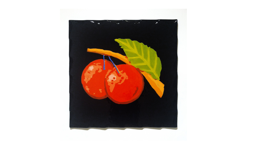 "Cherry Bonus, 2012 |  Water-based enamel laminated on wood 28.5"" x 28.5"""